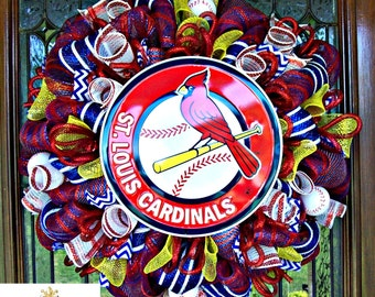 Deco Mesh St Louis Cardinals Wreath, basball, deco mesh wreath, wreath, baseball wreath