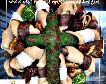 Burlap Wreath with Moss