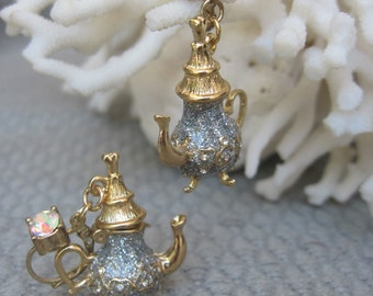 High Tea Sparkling Grey and Gold Tea Pot Earrings