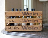 Personalized Wooden Wine Crate from Europe - with established year/ family name... perfect gift for rustic wedding!