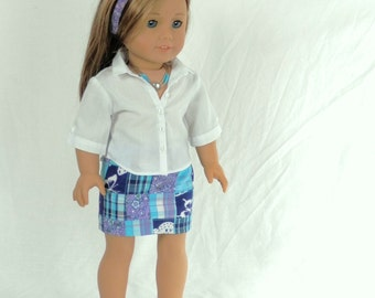 "Preppy Blue Patchwork Skirt and White Button Down Shirt 18"" Doll Outfit Fits American Girl Dolls with Necklace, Headband and Sandals"