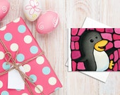 Penguin Birthday Card - Dancing Penguin on Pink Background - Baby Shower Card, Baby Card, Invitation, Holiday Card - by Kathy Lycka