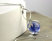 Sterling real cornflower twisted necklace. Eco-friendly resin and sterling silver necklace. Natural jewelry for her.