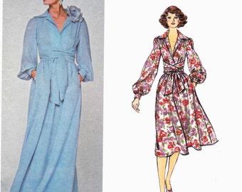 Vogue 1281 Dress with bias pointed collar with surplice bodice wrap waist ties Size 10 Oscar de la Renta (Uncut) American Designer