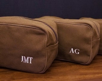 Set of 7 Canvas Toiletry Travel Bags Weddings Groom Groomsmen