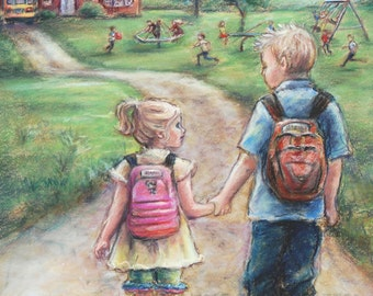 "Original  pastel painting, Little Sister, Big Brother,  school  ""Take My Hand Little Sis"" Laurie Shanholtzer"