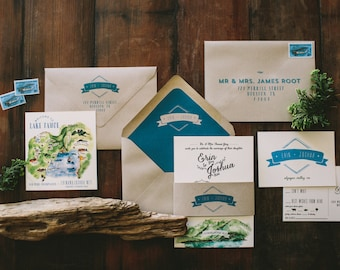 Rustic and Woodland Watercolor Lake Tahoe Mountain Wedding Invitation