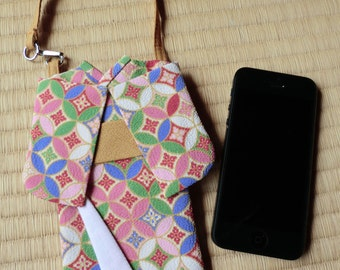 Kimono iphone case, Iphone case sleeve made of japanese kimono fabric pink geometical, smart phone protection case, cell phone sleeve.