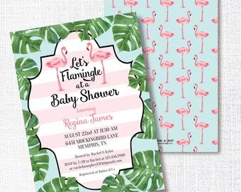LET'S FLAMINGLE flamingo palm pink aqua black invitation baby bridal wedding couples shower birthday graduation pool party palm beach