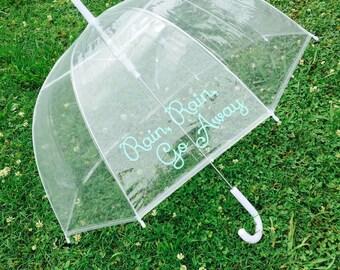 Ships Free! Monogram Umbrella, Personalized Umbrella, Clear Dome Umbrella, Rain Umbrella, Photo Prop, Wedding Umbrella