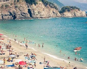 Boats & Beach, Cinque Terre Wall Art, Monterroso al Mare, Italy Photo Print Artwork