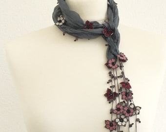 Silk Wrap Scarf, Silk Necklace, Boho Dark Gray Wrap Scarf, Crochet Oya Beaded Scarf, Flowers Foulard, Beaded Jewelry, Beadwork ReddApple,