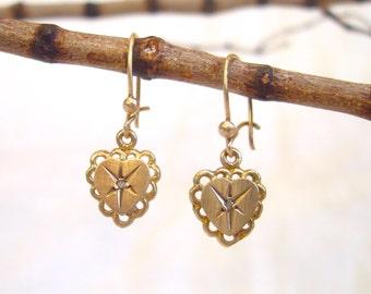 Gold Diamond Earrings - All Gold Victorian Style Love Heart Earrings with Star set Rose Cut Diamonds