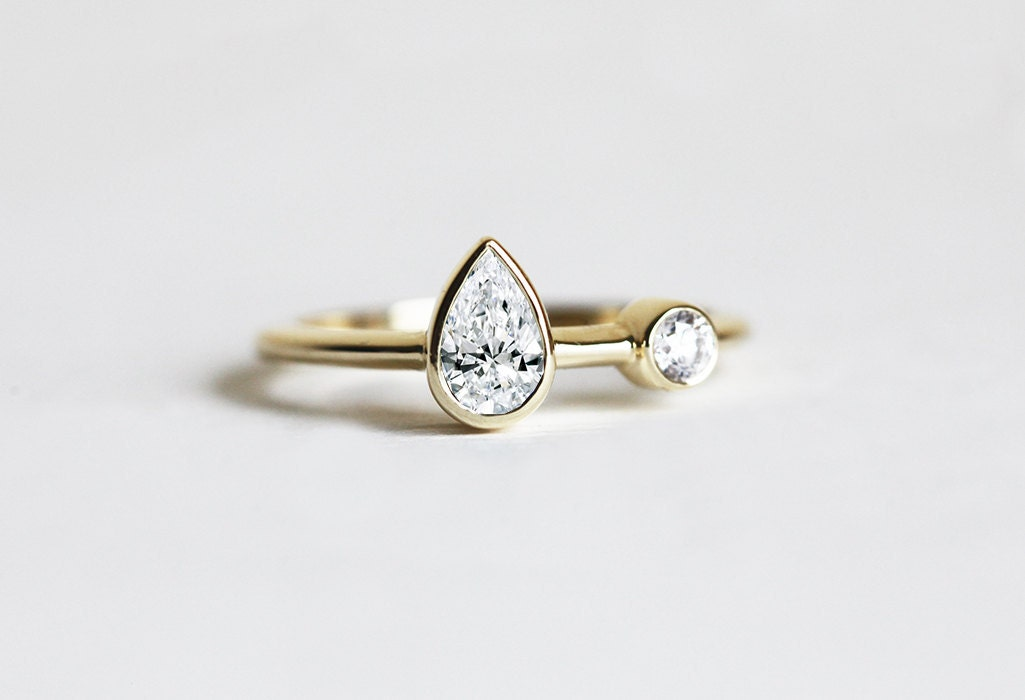 unique pear ring engagement ring two
