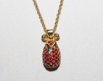 Joan Rivers Egg Necklace with Red Crystals         - S1224