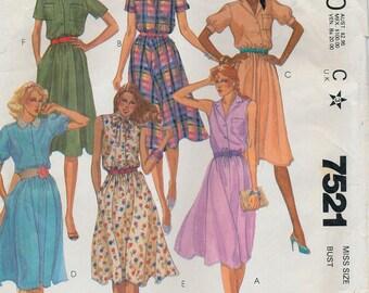 """McCall's 7521 Women's Classic Shirtwaist Dress Pattern Bust 32-1/2"""" Misses Size 10"""