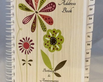 Large Print Address Book with A-Z TABS Birthday Anniversary & Death Calendar Family Record Keeper Personalized Gift