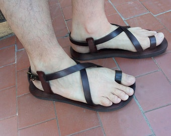 Brown  Black Leather Handmade Sandals for Men and Women Flip flops