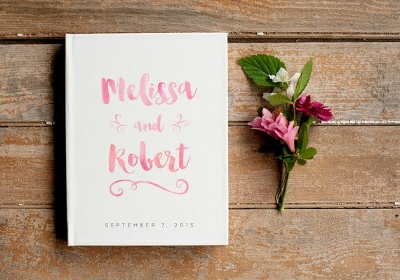 Wedding Guest Book Wedding Guestbook Custom Guest Book Personalized Customized custom design wedding gift keepsake watercolor blush pink