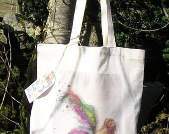Tote Bag/Cotton Eco Tote Bag/Faerie art/Fairy art/ Nature Fairy/ fabric faerie/Fairy design/Reuseable Shopping bag/