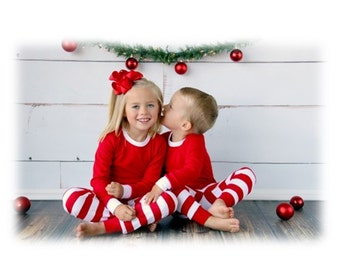 Christmas Pajamas in Matching Red And White Stripe. Embroidered Christmas Pajamas.  Family PJ delivery end of August.