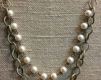 Pearl & Chain Double Strand Necklace