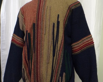 """Vintage 80s, 90s, """"Protege"""" Sweater - """"Coogi-like Styling"""" Crew Neck (Men's: 2X), Great Colors/Textures, HipHop, Cosby Sweater, NOS, Tags"""
