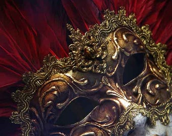 Venice Photography, Venetian Mask, Italian Wall Art Decor, Travel Photography, Red Gold Home Decor