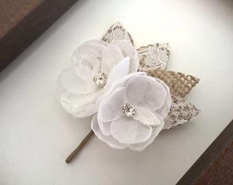 Burlap Lace Rustic White Flower Wedding Hair Accessories, Bridesmaid Bridal Flower Girl Hair Clip, Fabric Hair Piece Bobby Pin