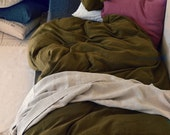 Olive Green stonewashed linen bedding set: duvet/quilt/doona cover and 2 pillowcases. Bed linen.