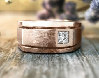 Men's Diamond Wedding Band | Square Diamond | Matte Gold Ring | 8.5MM Band | Solid 14K Gold | Fine Jewelry | Free Shipping