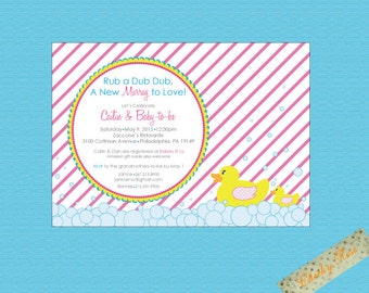 Rub A Dub Dub Baby Shower Invitation Girl/Boy/Neutral