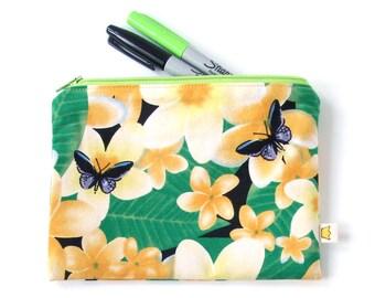 Butterfly pencil case, tropical frangipani zipper pouch