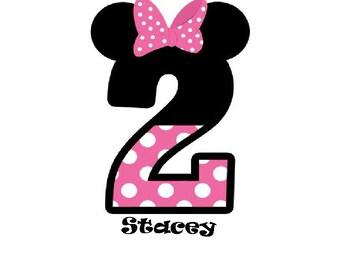 Disney Minnie Mouse Birthday #1-2-3-4-5,7# It's My Birthday Iron on Transfer personalized custom iron on T-shirt iron on transfer
