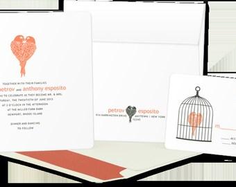 DIGITAL: Love Birds Wedding Invitations, Love Wedding invites, Birds Wedding Invitation, birdcage wedding invitations