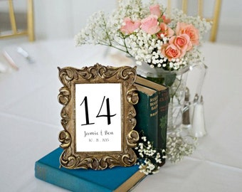 """Instant Download Table Numbers Template PDF - Cursive Elegant Traditional Style #1 (Black & White OR Your Colors!) (4""""X6"""")"""