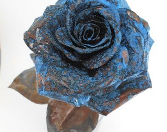 Copper Metal Rose (Blue) with Barbed Wire Stem - metal flower, copper rose, copper flower, Anniversary, Valentine, Wedding