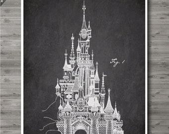Disney Castle poster, Disney Castle patent, Disney Castle print, Disney Castle Art, Disney Castle Decor  no17-1