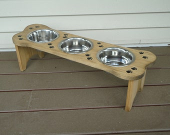 """Elevated, 7-3/4"""",  handmade, wood, pet feeder, with 3 one quart stainless steel bowls"""