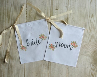 Floral Bride and Groom Wedding Banners Set , Engagement Photo Shoot Prop, Wedding Decor