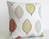 Decorative Pillow Cover, Accent Pillow, Cushion Cover, 18 Inch Sofa Pillow, 18x18 Pillow Cover, Scatter Cushion - Modern Leaves Spice