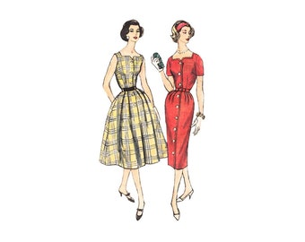 Slenderette Rockabilly Dress with 2 Skirt Styles Bust 36 Simplicity 2493 Fit & Flare or Wiggle Dress Square Neck Uncut 1950s Sewing Pattern