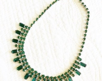 Vintage Shabby Chic Emerald Green Rhinestone Necklace, Olives and Doves