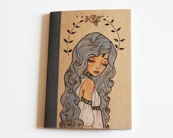 Rapunzel - Notebook, Illustration, ruled Notebook, Hand Drawn, OOAK