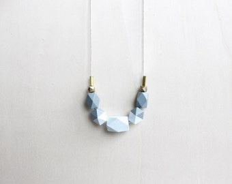 pastel wooden geometric necklace, ice blue gray necklace, minimalist everyday jewelry