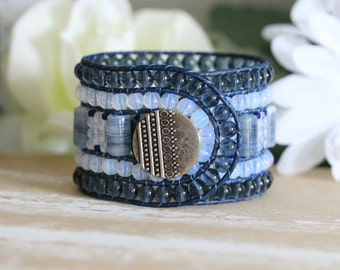 Wide Beaded Leather Cuff, 5 Row, Denim Blue and White Opal, Distressed Blue Leather, Wrap Bracelet, Chunky Bracelet, Leather Bracelet