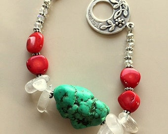 Turquoise, Red Coral, Quartz Crystal and Silver Bracelet