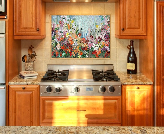 Kitchen Backsplash Art custom kitchen mosaic backsplash art hand cut stained glass