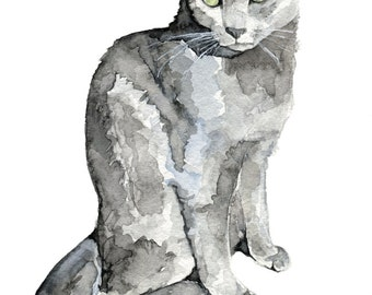 "Grey Cat Painting- Print from my Original Watercolor Painting, ""Luna"", Pet Decor, Cat, Kitten, Cat Print, Cat Painting"