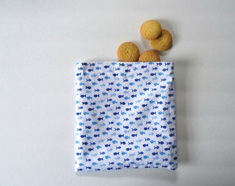 Reusable Snack Bag, Sandwich Bag with tiny Blue Fish, Nautical and Preppy, Zero Waste Lunch